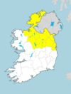 A Status Yellow thunder warning has been issued for 11 counties