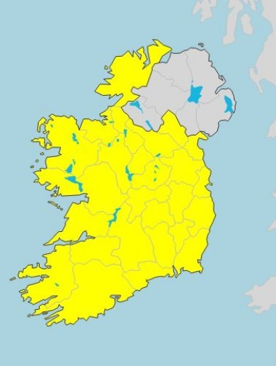 People urged to take care as Status Yellow rainfall warning kicks in for the whole of Ireland