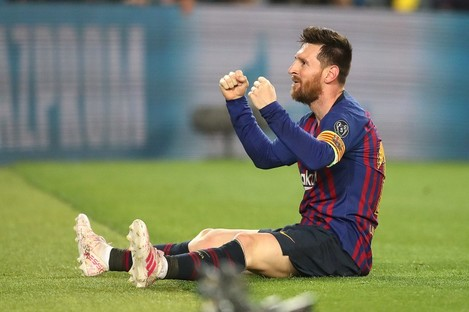 Lionel Messi celebrates his stunning free-kick against Liverpool in last season's Champions League.