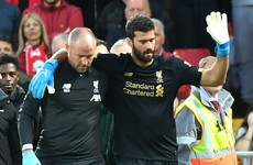 Blow for Liverpool as goalkeeper Alisson hobbles off against Norwich