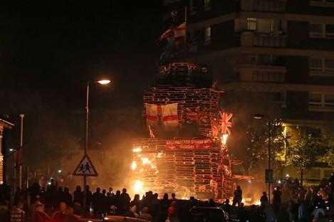 The bonfire in Belfast on Thursday night.
