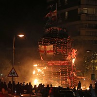 Two men charged over stabbings near contentious Belfast bonfire