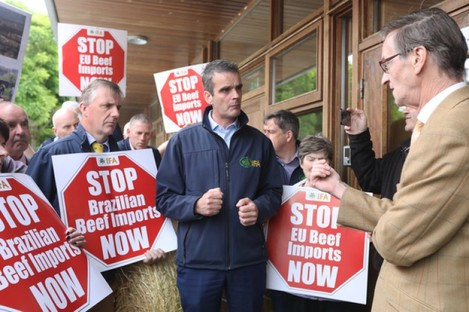 Irish Farmers Association President Joe Healy joins protesters last month.