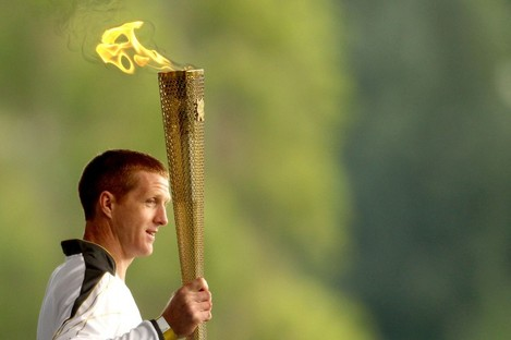 Kilkenny hurler Henry Shefflin with the Olympic torch in Croke Park today.