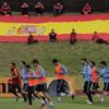 Champions Spain undergo light first training run