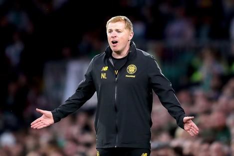Celtic's manager Neil Lennon gestures on the touchline.