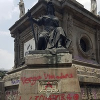 Iconic Mexico City monument graffitied with anti-rape slogans by 'glitter protesters'