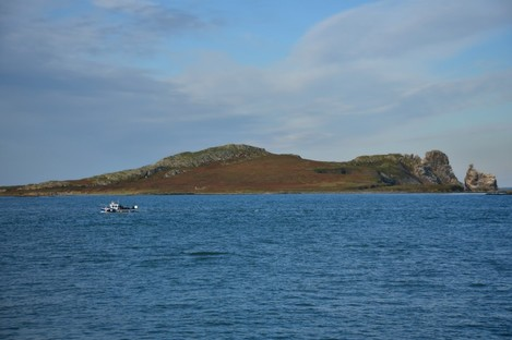 Panoramic view of Ireland's Eye island as seen from Howth.