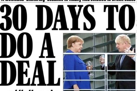 The Daily Express front page today on yesterday's press conference between Merkel and Johnson.