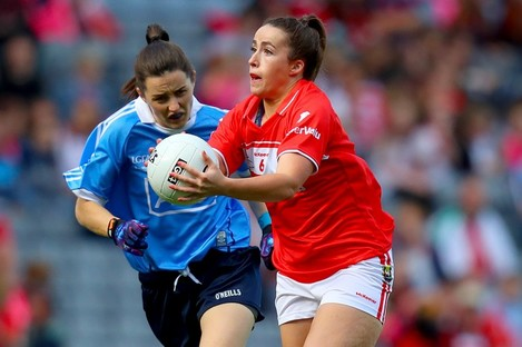 Shauna Kelly in action for Cork against Dublin's Lyndsey Davey in last year's All-Ireland final.