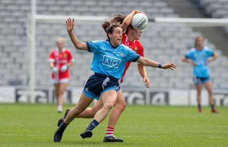 Cork's Ciara O'Sullivan with Siobhan McGrath of Dublin.