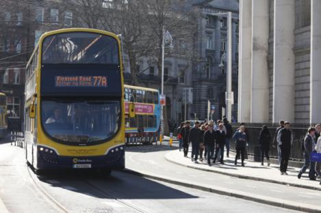 File photo of a bus in Dublin city centre.