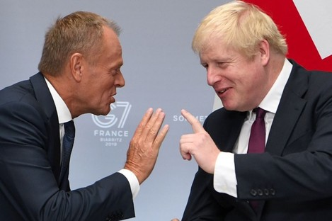 Donald Tusk and Boris Johnson speak at the weekend.