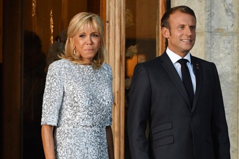 France's President Emmanuel Macron and wife Brigitte during the G7 Summit.