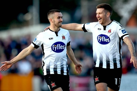 Michael Duffy (left) celebrates scoring the first goal of the game with Patrick McEleney.