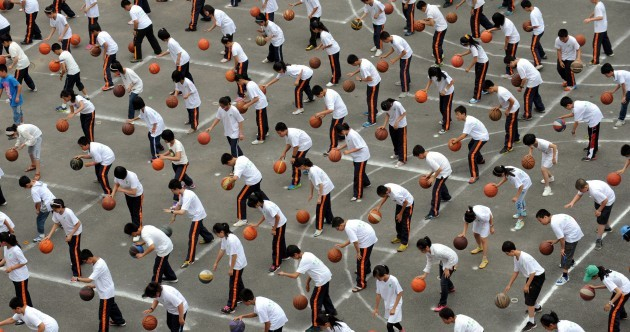 PHOTOS: The largest gym class you've (probably) ever seen
