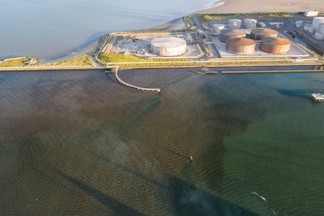 An overflow at Ringsend Wastewater Treatment Plant in the Liffey last month