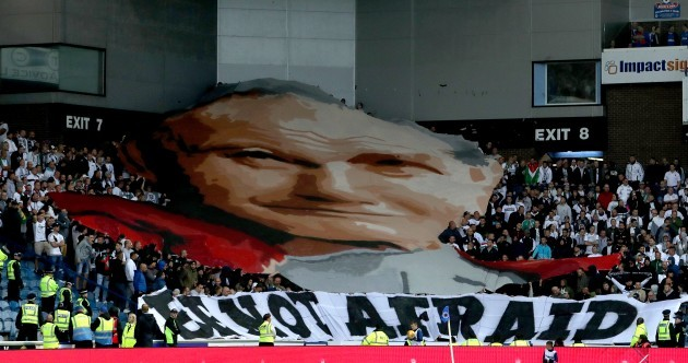 Legia Warsaw fans unfurled a giant banner of Pope John Paul II at Ibrox