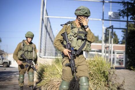 Israeli soldiers on patrol on the Lebanon border.