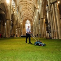 Photos: Cathedral lays down real grass inside for Queen dinner