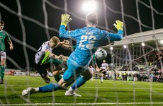 Dundalk three wins from title after late Kelly header sees off Cork City