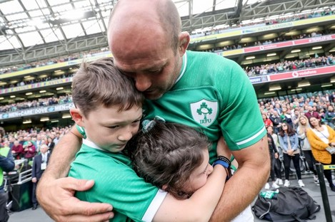 Best with his son Ben and daughter Penny after the game.