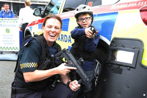 Charlie Byrne from Terenure, Dublin using his own gun and helmet in support of Sgt Aine Power of the Garda Armed Support Unit.