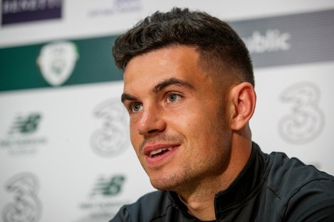 John Egan pictured at today's press conference.