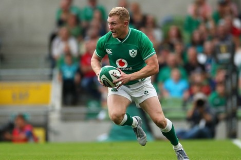 Keith Earls in possession for Ireland against Wales.
