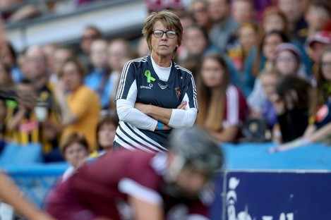 Ann Downey watches on during yesterday's All-Ireland senior camogie final.