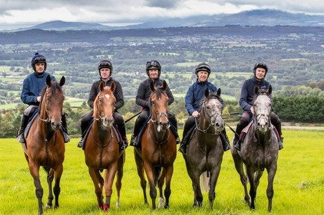 Joseph O'Brien, AP McCoy, Ruby Walsh, Paul Carberry and Charlie Swan are pictured together ahead of riding in the Pat Smullen Champions Race for Cancer Trials Ireland at the Curragh on Sunday