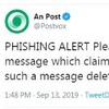 An Post issues warning over scam text messages