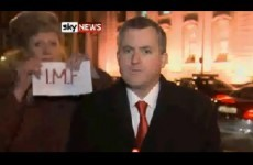 Anti-IMF protestor interrupts TD on Sky News