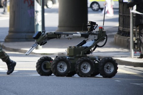 File photo of an Army bomb disposal robot: the EOD team was called to the scene in Mayo to deal with explosive substances over the weekend.