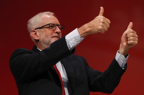 Jeremy Corbyn at his party's conference in Brighton.