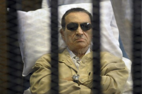 Hosni Mubarak during his trial.