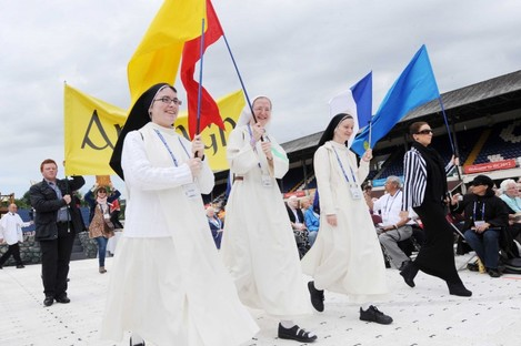 Pilgrims from Ireland and abroad take part in the opening ceremony on the opening day of the International Eucharistic Congress at the RDS.