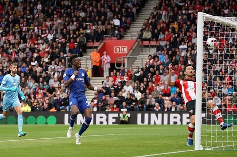 Chelsea's Tammy Abraham scores his side's first goal.
