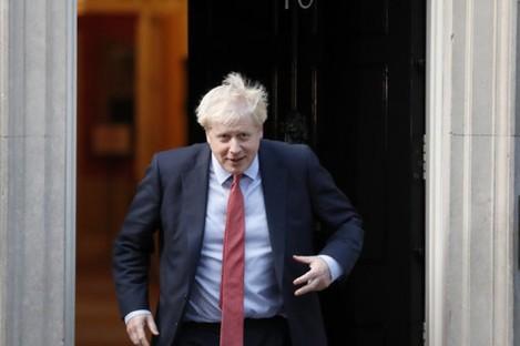 Johnson leaving Downing Street yesterday.