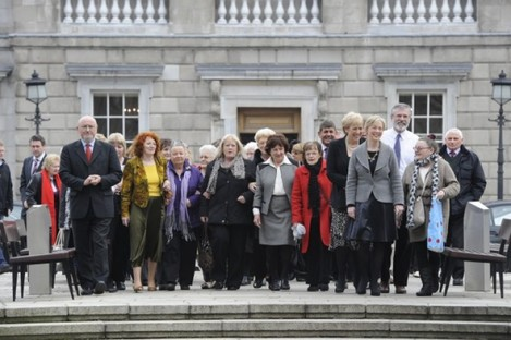 Symphysiotomy survivors at Leinster House last March.
