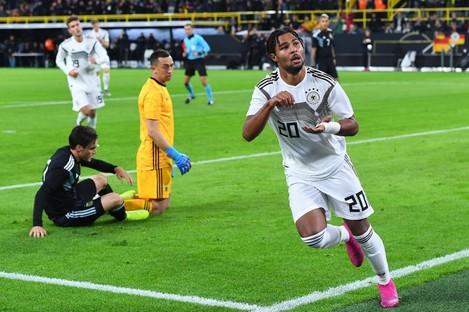 Germany's Serge Gnabry celebrates his goal.