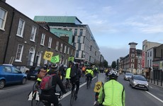 Cyclists blocking traffic in Dublin city as part of climate change protest