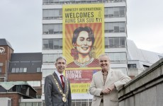 Giant banner welcomes Aung San Suu Kyi to Ireland