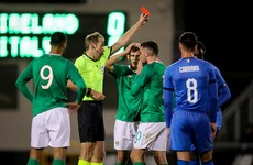 Watch: The incredibly soft red card shown to Ireland U21 striker Parrott
