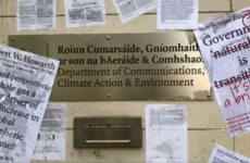 Extinction Rebellion protesters have covered government climate department building with scientific papers