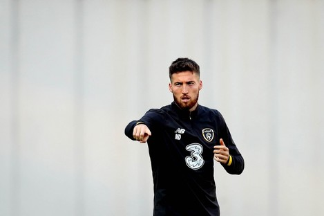 Matt Doherty at Irish training yesterday.