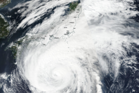 NASA image shows the outer parts of Hagibis reaching Japan.