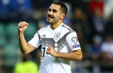 Gundogan grabs brace as Germany see-off Estonia despite early Can red card