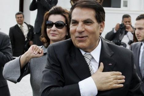 2009 file photo of Zine El Abidine Ben Ali and his wife Leila.