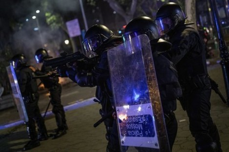 Riot police in Barcelona, who have been deployed in response to the protests.